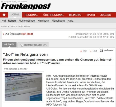 """Die Frankenpost sieht sieht die Stadt Hof mit der eigenen TLD """"im Netz ganz vorn""""."""