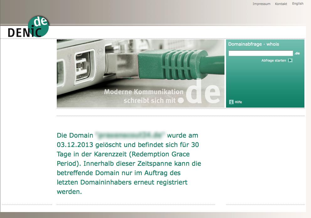 Die DENIC ermöglicht ab sofort die Wiederherstellung einer Domain.