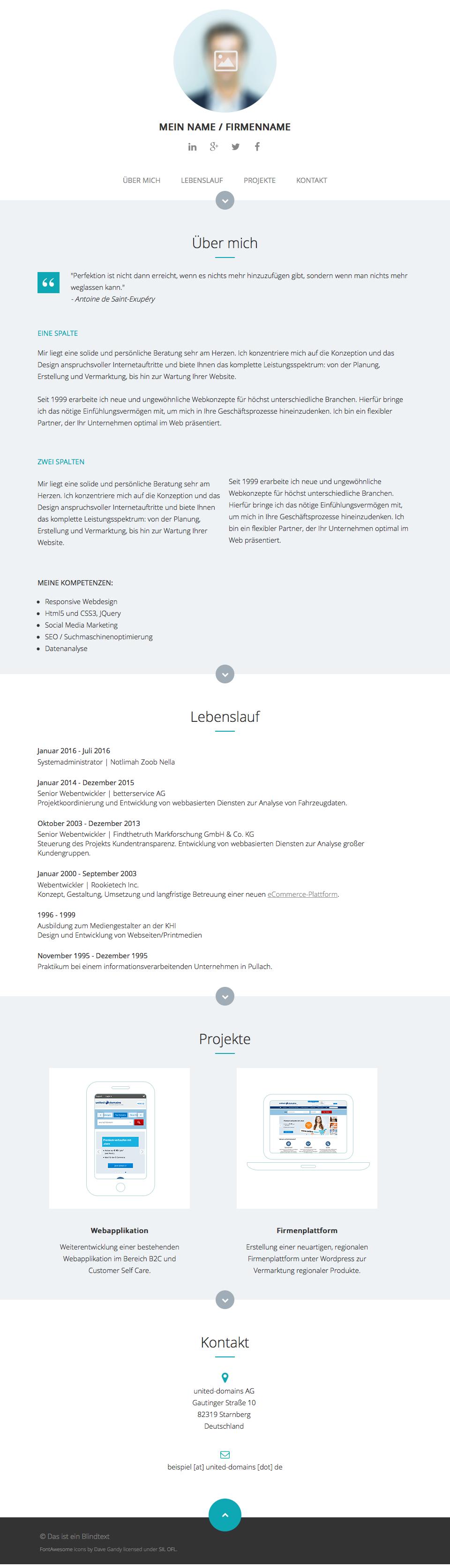 UDAG One-Page-Design Vorlage