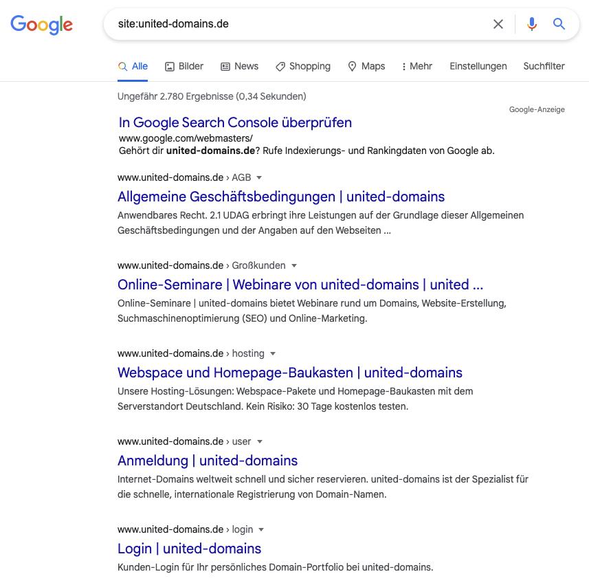 Gezielte Domain-Suche auf Google am Beispiel united-domains