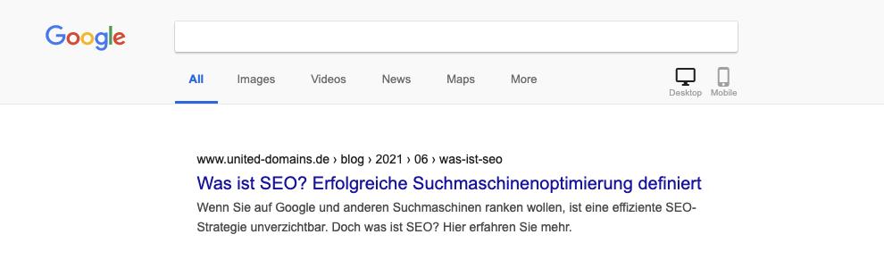 Google-Snippet am Beispiel united-domains