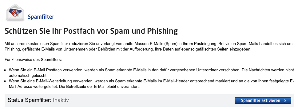 Spam-Filter deaktivieren