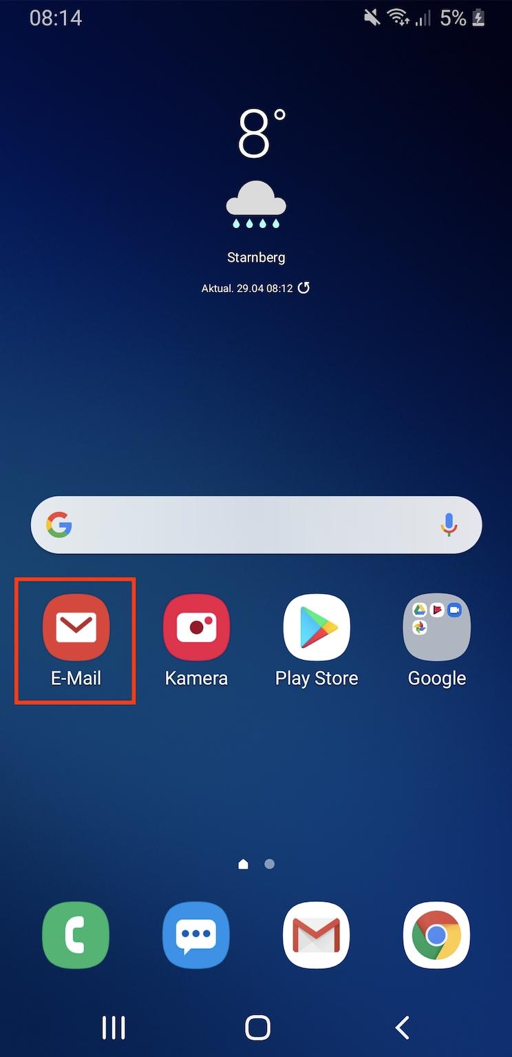 Wie richte ich bei meinem Android Smartphone mein E-Mail Postfach