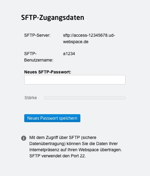 SFTP-Zugangsdaten